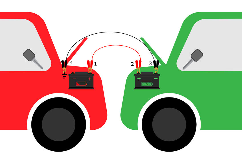 Cartoon Jumper Cables With Spark : How to jump a car complete guide starting